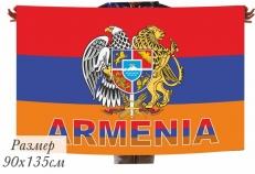 Двухсторонний флаг Армении с гербом фото