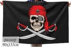 Двухсторонний флаг Пиратский «С саблями» фото