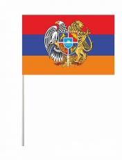 Флажок на палочке «Флаг Армении с гербом» фото