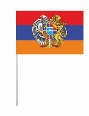Флаг Армении с гербом на палочке фото