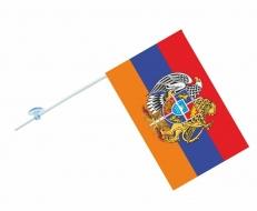 Флажок с присоской Флаг Армении с гербом фото