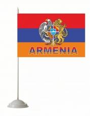Флажок настольный «Флаг Армении с гербом» фото