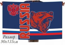 Сувенирный флаг RUSSIA с медведем фото