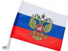 Флаг России с гербом в машину фото