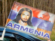 Флаг на машину с кронштейном «Армения Иисус» фото