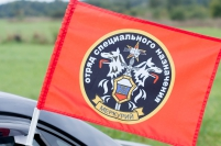 "Флаг на машину с кронштейном Спецназа ВВ ""25 ОСН Меркурий"""