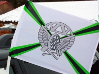 Флаг на машину с кронштейном «Железнодорожные войска»