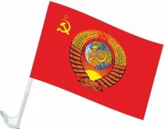 Флаг на машину с кронштейном СССР с гербом фото