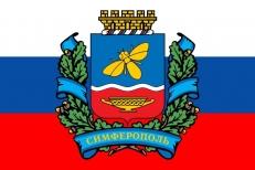 """Флаг Симферополя """"Триколор с гербом"""" фото"""