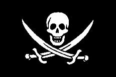 Чёрный флаг с черепом и саблями фото