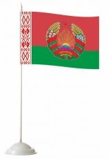 Флажок настольный Республики Беларусь с гербом фото