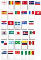 Флаги участников Чемпионата Мира по футболу. (Набор из 32-х флажков на палочке размером 15х23 см).