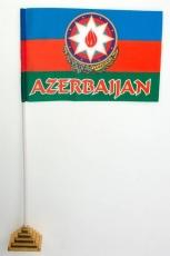 Флажок настольный «Флаг Азербайджана с гербом» фото
