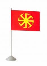 """Настольный флаг со славянским оберегом """"Солнце-Коловрат"""" фото"""