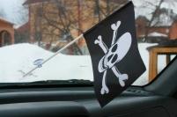 Флажок в машину с присоской Пиратский с костями