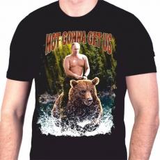 """Футболка с Путиным на медведе """"Нас не догонят"""" фото"""