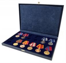 Футляр для 12 медалей на пятиугольной колодке D-32мм, обшит экокожей фото