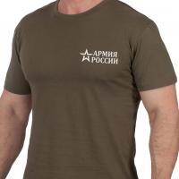 """Оливковая футболка """"Армия России"""" с вышивкой"""