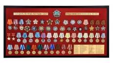 """Планшет """"Награды СССР"""" (92,0x46,0 см) со стеклянной крышкой. В комплекте - 53 муляжа орденов и медалей, вручавшихся в период ВОВ фото"""