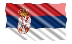 Двухсторонний флаг Республики Сербия фото