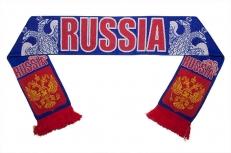 Вязаный шарф с гербом России фото