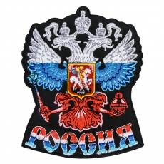 "Термонашивка ""Герб России"" триколор фото"
