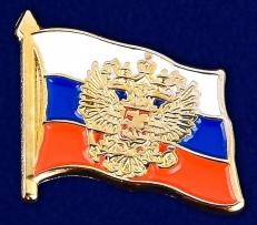 """Значок """"Российский флаг с гербом"""" фото"""