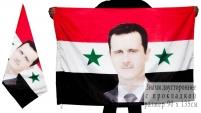 Флаг Сирии с портретом Башара Асада