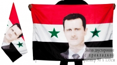 Флаг Сирии с портретом Башара Асада фото